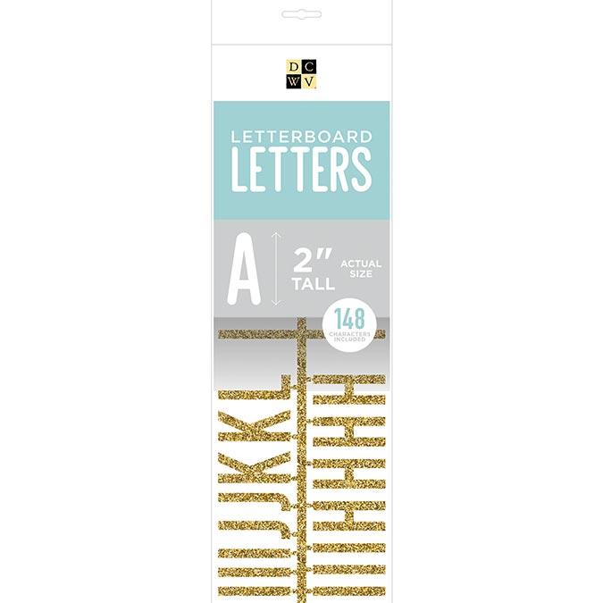 Caractères pour Letter Board - 5 cm - pailleté or - 148 pcs
