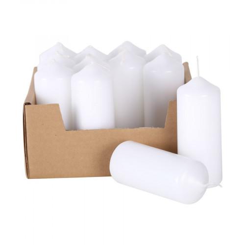 Bougies - blanc - 4 x 11 cm - 12 pcs