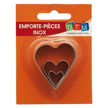 3 mini emporte-pièces inox - Cœurs - GM : 4.1 x 3.7 cm