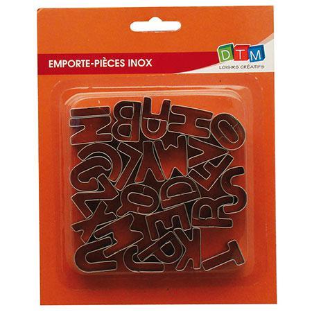 26 emporte-pièces inox - Alphabet - M : 2.6 x 1.3 cm