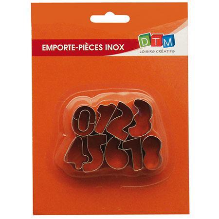 9 emporte-pièces inox - Chiffres - 8 : 2.6 x 1.5 cm