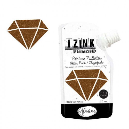 Peinture paillettes Izink Diamond marron - 80 ml