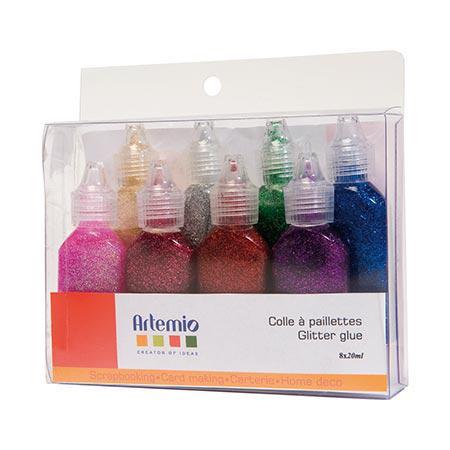 Colle à paillettes - Assortiment de 8 couleurs