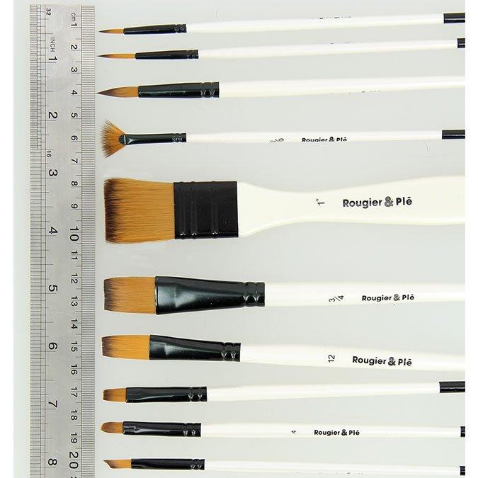 Trousse de 10 pinceaux synthétiques courts - Acrylique, Huile, Aquarelle