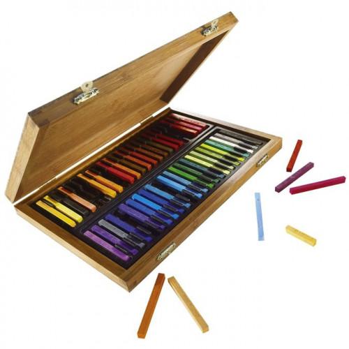 Coffret bambou de 48 carrés de pastels