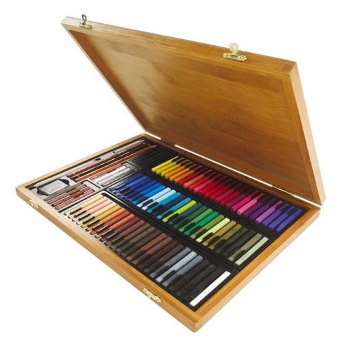 Coffret bambou de 84 carrés de pastels