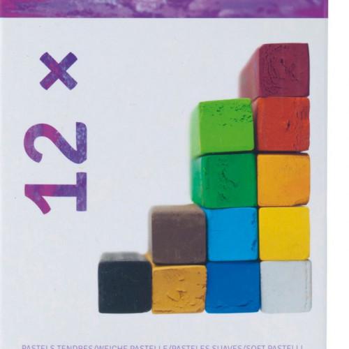 12 pastels secs carrés