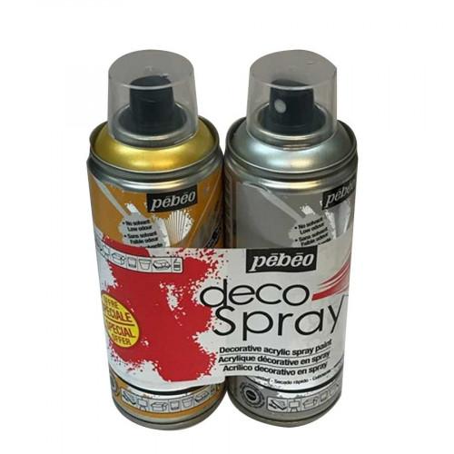 DecoSpray - Lot de 2 peintures en bombe - 200 ml - or / argent nacré