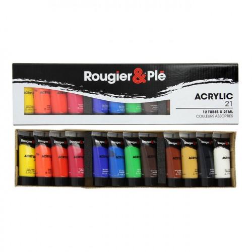 Assortiment de 12 tubes de peinture acrylique - 12 x 21 ml