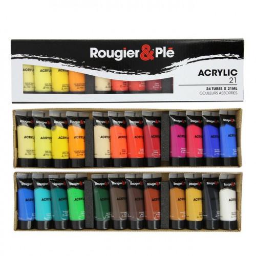 Assortiment de 24 tubes de peinture acrylique - 24 x 21 ml