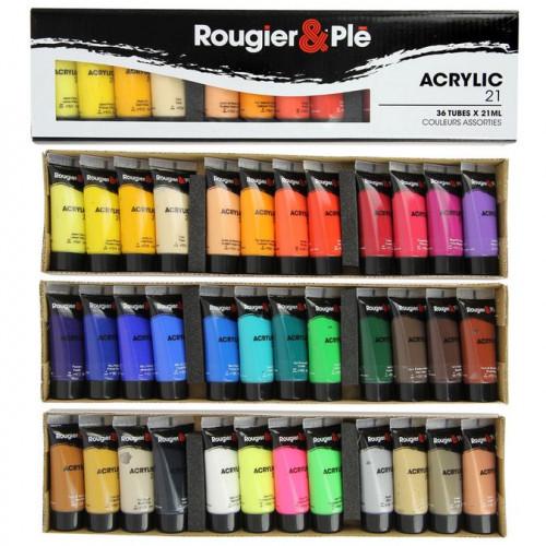 Assortiment de 36 tubes de peinture acrylique - 36 x 21 ml