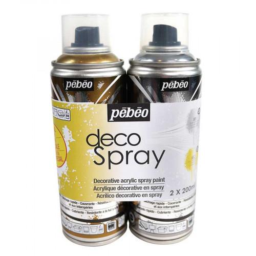Decospray - Lot de 2 peintures - 200 ml - or et argent