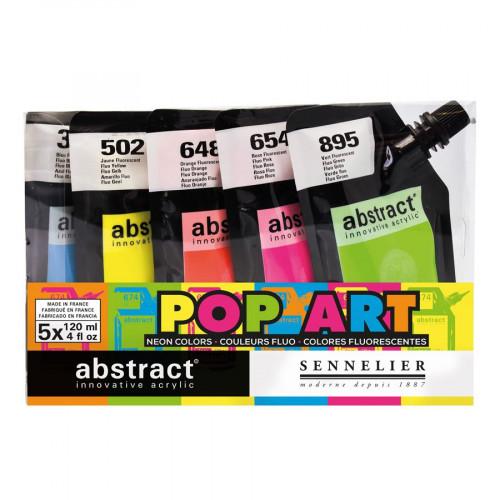Assortiment peintures acryliques Pop Art - 5 x 120 ml