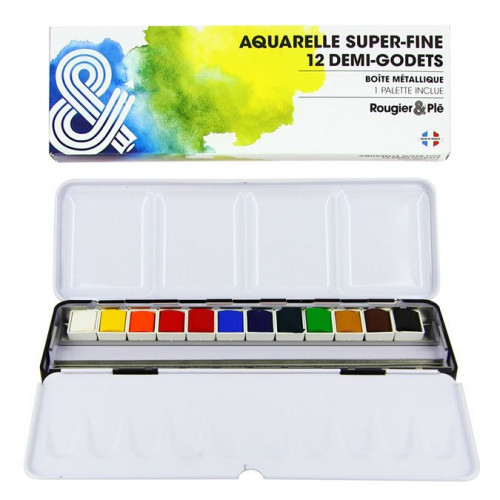 Aquarelle super-fine - 12 demi-godets en boîte métal