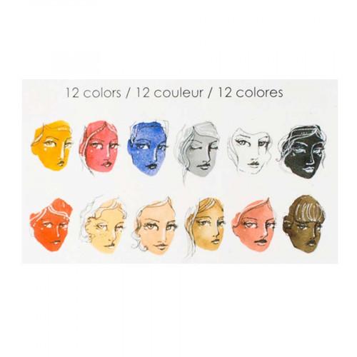Peintures aquarelle - 12 couleurs neutres