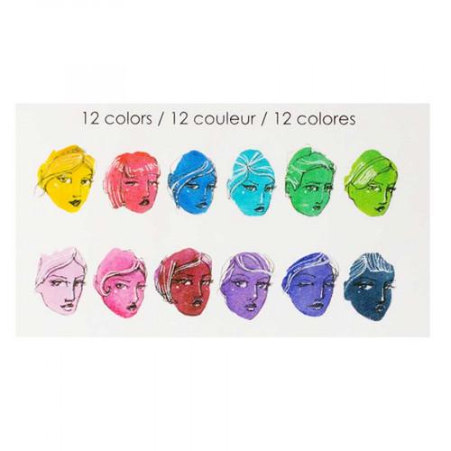 Peintures aquarelle - 12 couleurs vives