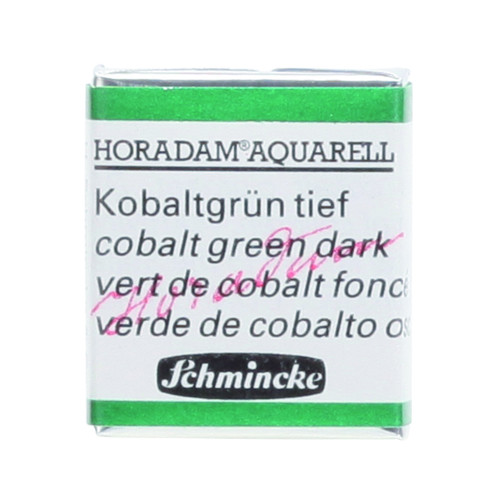 Peinture aquarelle Horadam demi-godet extra-fine 533 - Vert de cobalt foncé
