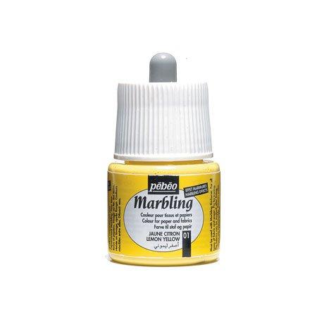 Marbling peinture - Jaune citron 45 ml - couleur 01