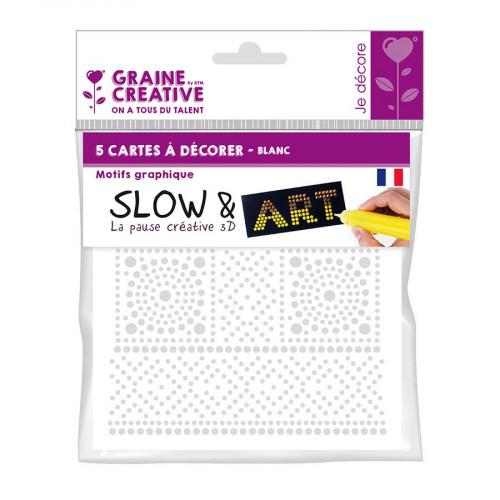 Lot de 5 cartes Graphique à décorer Slow & Art - fond blanc