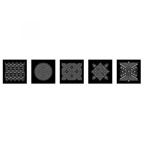 Lot de 5 cartes Graphique à décorer Slow & Art - fond noir