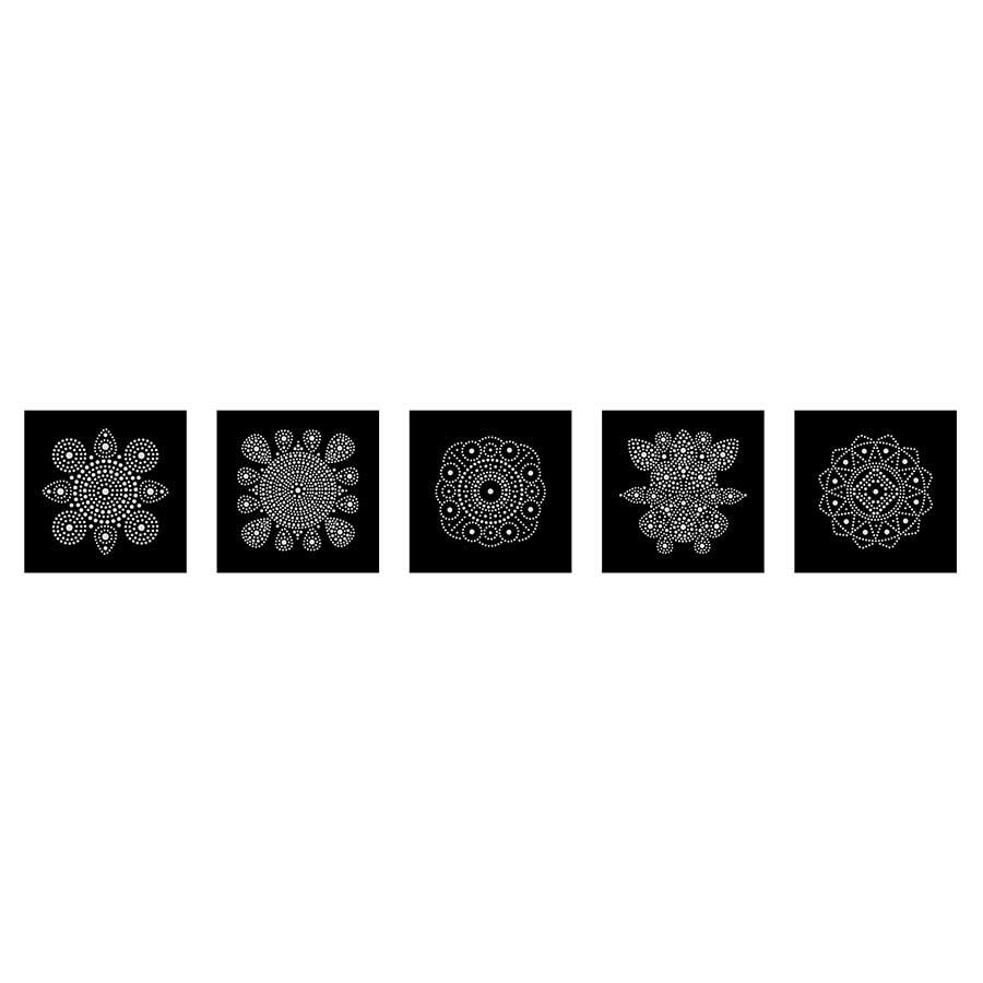 Lot de 5 cartes Mandala à décorer Slow & Art - fond noir