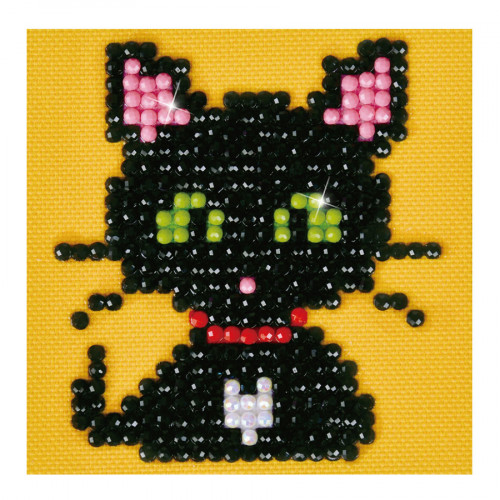 Kit Tableau Strass Diamond Dotz Chat noir