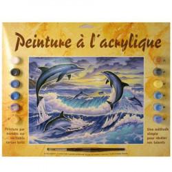 Peinture par numéro - Dauphins au clair de lune