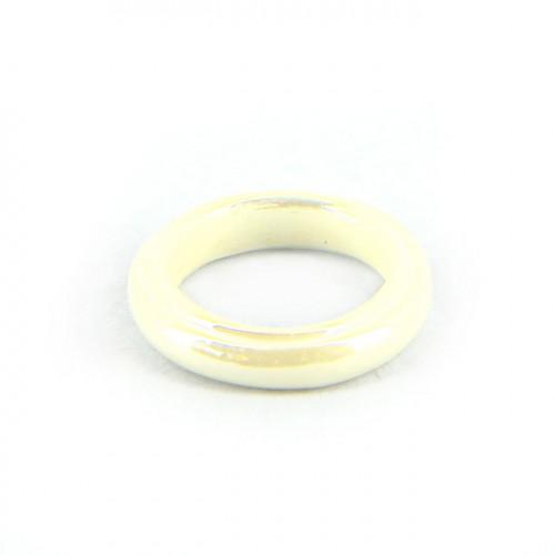 Anneau nacré en verre opaque - Blanc - 15 mm