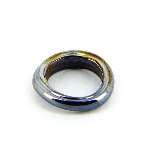 Anneau nacré en verre opaque - Noir charbon - 15 mm