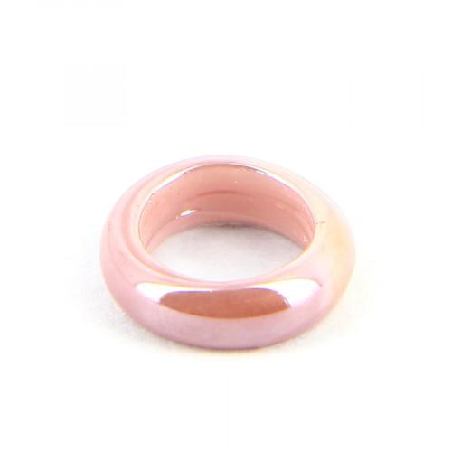 Anneau nacré en verre opaque - Parme - 15 mm