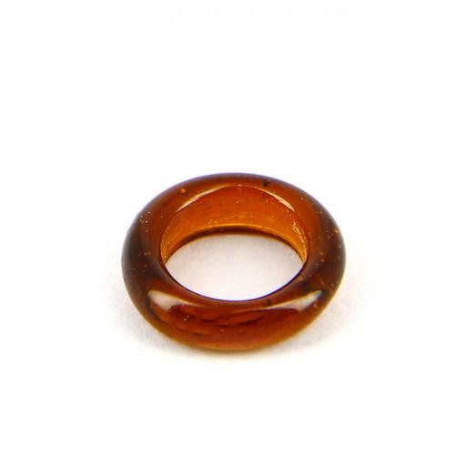 Anneau en verre brillant - Transparent et marron - 15 mm