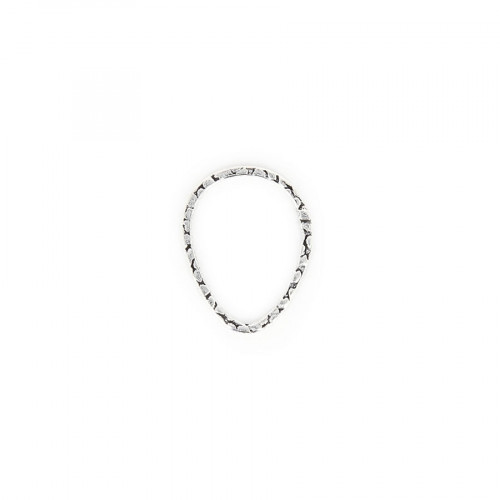Anneau filigrané oval en métal - Argent brillant - 2 cm