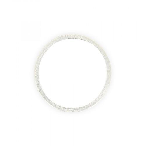 Anneau brosse en métal - Argent brillant - 3,5 x 3,5 cm
