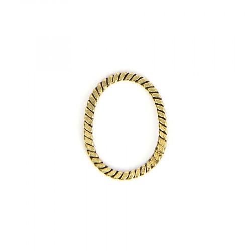 Anneau oval corde tressée en métal - Laiton vieilli - 15 x 19 mm