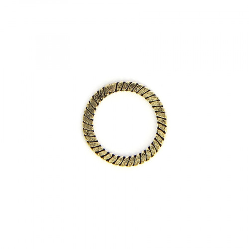 Anneau rond corde tressée en métal - Laiton vieilli - 15 x 19 mm