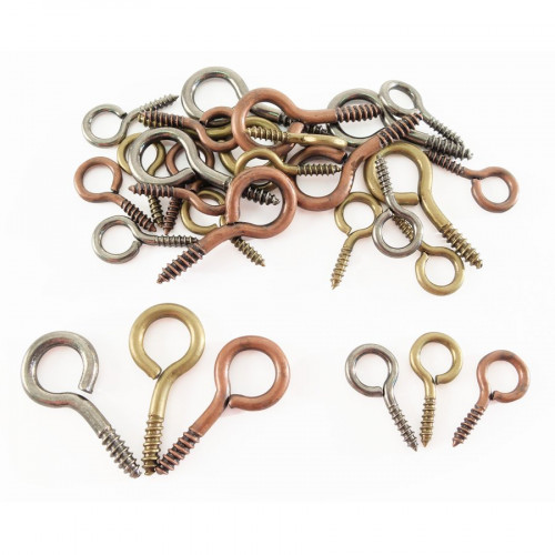 Mini Crochets à vis - Argent / Doré Vieilli / Bronze