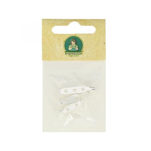 Assortiment de broches à coller - Argent - Taille aléatoire de 20 à 25 mm