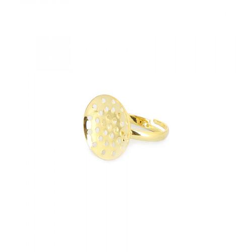 Bague réglable à plateau incurvé en métal pour perle - Or - 18 mm