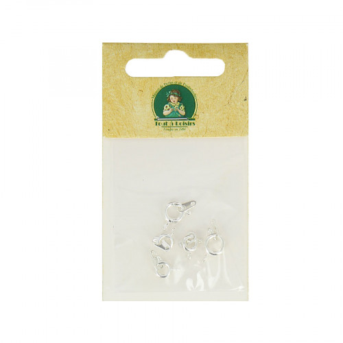 Assortiment de fermoirs à ressort - Argent - Taille aléatoire de 8 à 10 mm