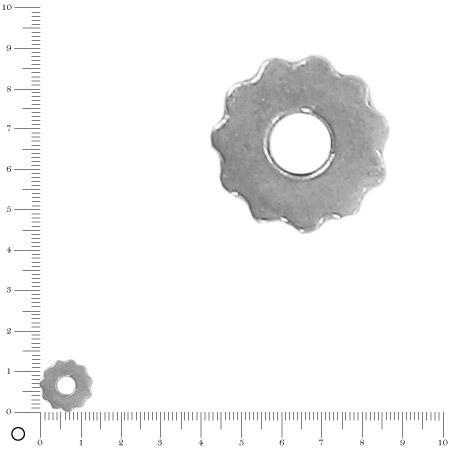 Breloque écrou pour bague à monter Ø 14 mm - Argenté vieilli