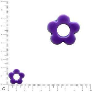 Breloque fleur émaillée pour bague à monter Ø 20 mm - Violet