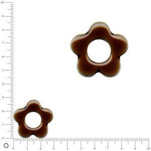 Breloque fleur émaillée pour bague à monter Ø 30 mm - Chocolat