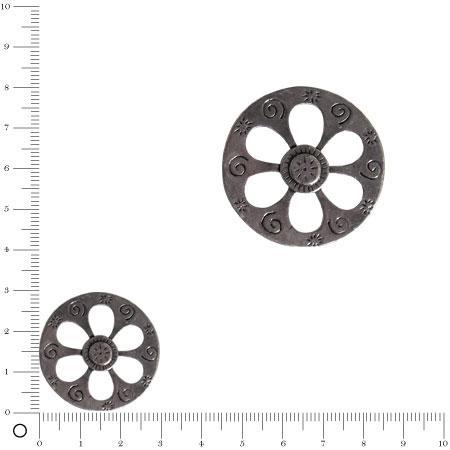 Pendentif Roue Ø 30 mm - Argenté vieilli