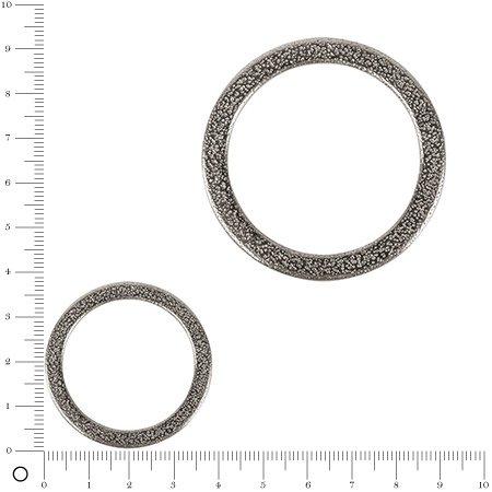 Anneau intercalaire plat - argenté - 3,7 cm - 1 pièce