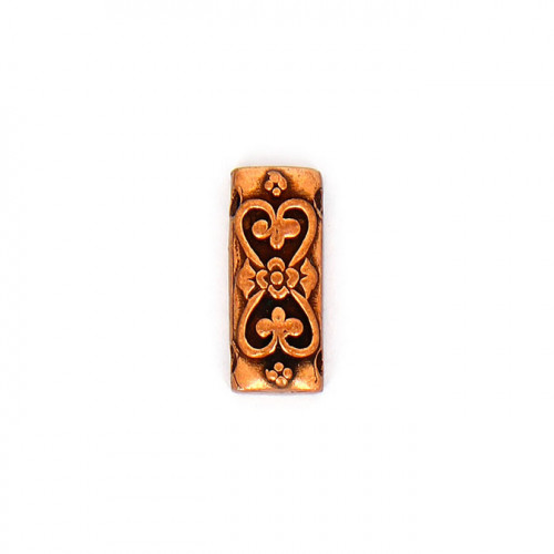 Perle rectangulaire intercalaires cœur arabesque - 10 x 25 mm