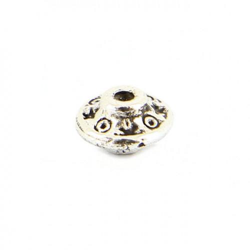 Perle intercalaire toupie en métal - Argent - 8 mm