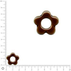 Breloque fleur émaillée pour bague à monter Ø 20 mm - Chocolat