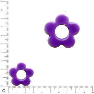 Breloque fleur émaillée pour bague à monter Ø 30 mm - Violet