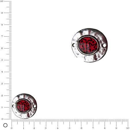 Médaille intercalaire émaillée Ø 25 mm - Rouge