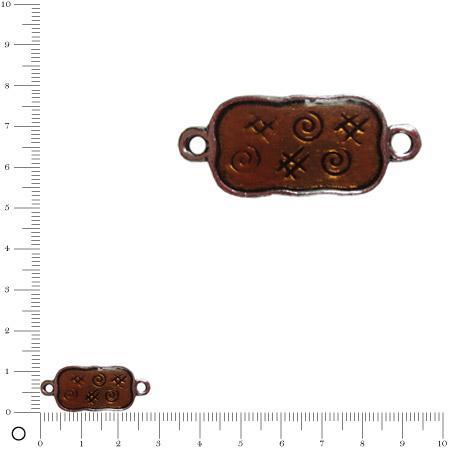 Pendentif intercalaire émaillé L. 30 mm - Brun